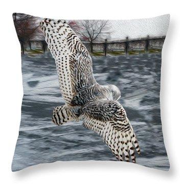 Snowy Owl Wingspan Throw Pillow
