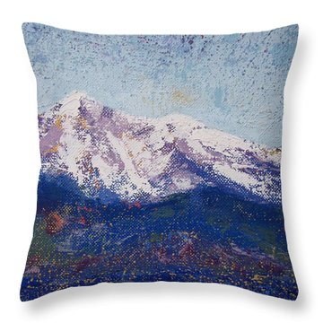 Snowy Peaks Throw Pillow