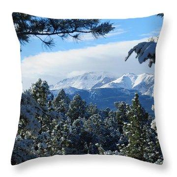 Snowy Pikes Peak Throw Pillow