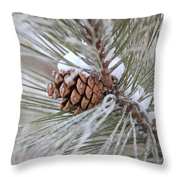 Snowy Pine Throw Pillow by Penny Meyers