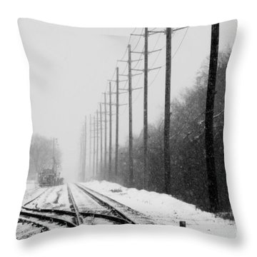Throw Pillow featuring the photograph Snowy Rails by Steven Macanka