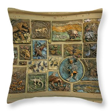 Throw Pillow featuring the sculpture Snowy Range Life - Large Panel by Dawn Senior-Trask
