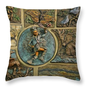 Throw Pillow featuring the relief Snowy Range Life - Small Panel by Dawn Senior-Trask
