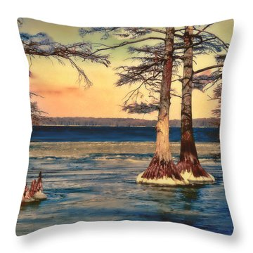 Snowy Reelfoot Throw Pillow