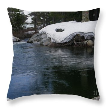 Throw Pillow featuring the photograph Snowy River Bend by Bobbee Rickard