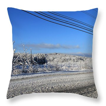Snowy Roads Throw Pillow by Michael Mooney