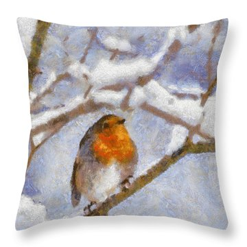 Snowy Robin Throw Pillow