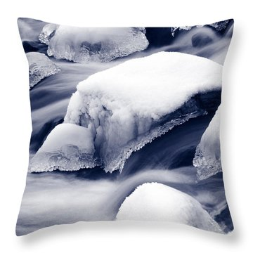 Throw Pillow featuring the photograph Snowy Rocks by Liz Leyden