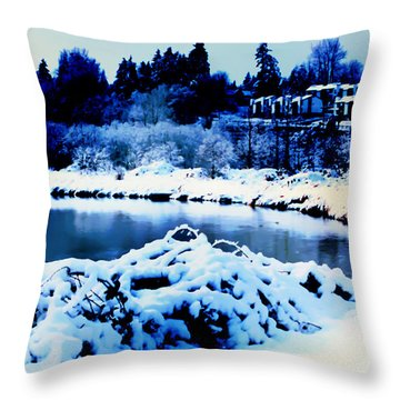 Snowy Sammamish River Bothell Washington Throw Pillow