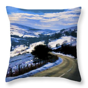 Snowy Scene And Rural Road Throw Pillow