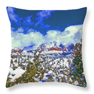 Snowy Sedona Throw Pillow by Gary Wonning