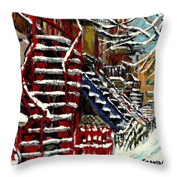 Snowy Steps The Red Staircase In Winter In Verdun Montreal Paintings City Scene Art Carole Spandau Throw Pillow