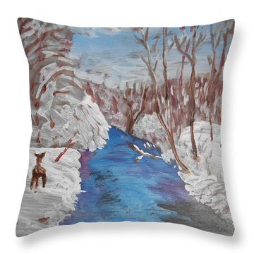 Snowy Stream Throw Pillow