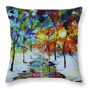Snowy Street Throw Pillow