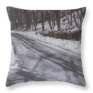 Throw Pillow featuring the photograph Snowy Street by Tom Singleton