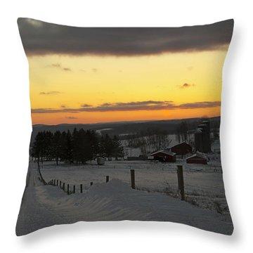 Snowy Pennsylvania Sunset Throw Pillow