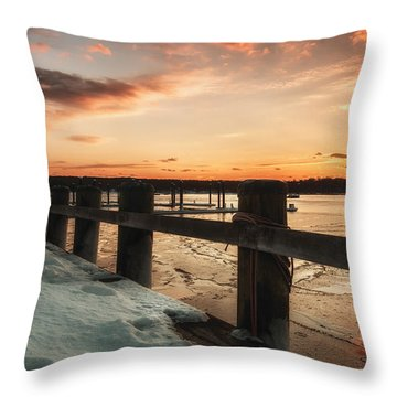 Snowy Sunset In Northport New York Throw Pillow