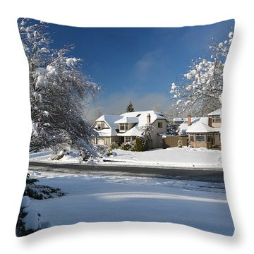 Snowy Surrey Bc Throw Pillow by Lawrence Christopher
