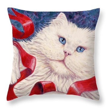 Snowy The Cat Throw Pillow by Linda Mears