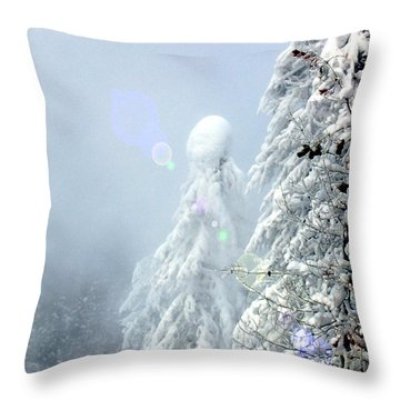 Snowy Trees Throw Pillow by Kae Cheatham