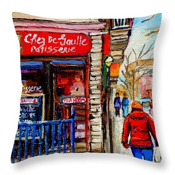Snowy Walk By The Tea Room And Pastry Shop Winter Street Montreal Art Carole Spandau  Throw Pillow by Carole Spandau