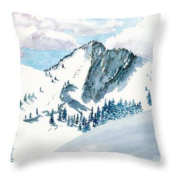 Snowy Wasatch Peak Throw Pillow