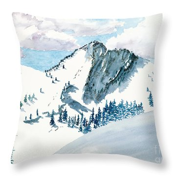 Snowy Wasatch Peak Throw Pillow