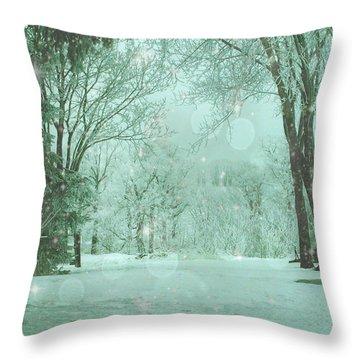 Snowy Winter Night Throw Pillow