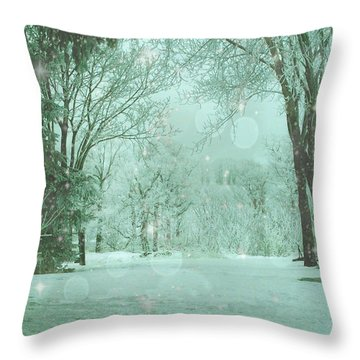 Snowy Winter Night Throw Pillow by Mary Wolf