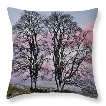 Snowy Winter Treescape Throw Pillow