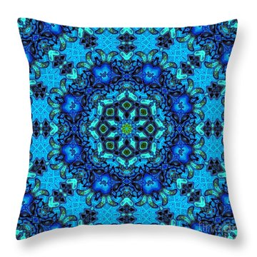 So Blue - 33 - Mandala Throw Pillow
