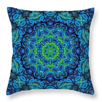 So Blue - 43 - Mandala Throw Pillow