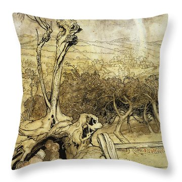 So Nobody Can Quite Explain Exactly Where The Rainbows End Throw Pillow by Arthur Rackham