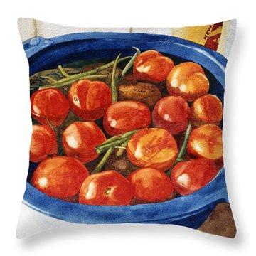 Soaking Tomatoes Throw Pillow