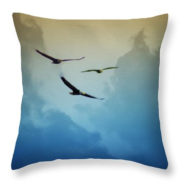 Soaring Eagles Throw Pillow by Bill Cannon