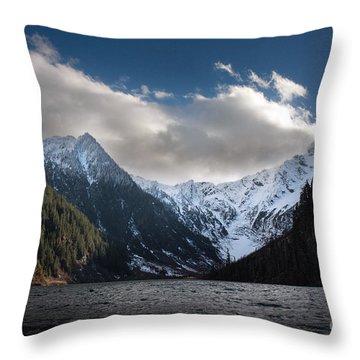 Soaring Mountain Lake Throw Pillow by Mike Reid