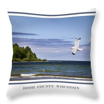 Soaring Over Door County Throw Pillow