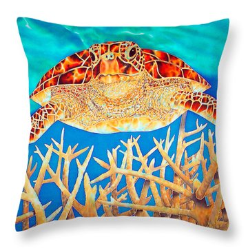 Sea  Turtle Soaring Over Staghorn Throw Pillow