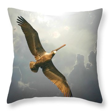 Soaring Pelican Throw Pillow