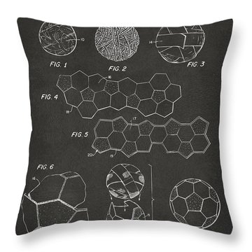 Throw Pillow featuring the digital art Soccer Ball Construction Artwork - Gray by Nikki Marie Smith