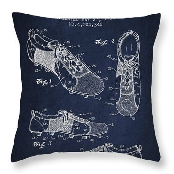 Soccershoe Patent From 1980 Throw Pillow by Aged Pixel