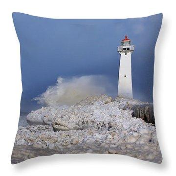 Sodus Bay Lighthouse Throw Pillow