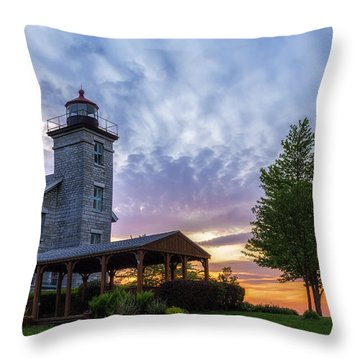 Sodus Bay Lighthouse Throw Pillow