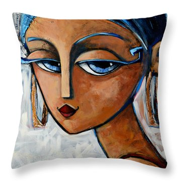 Throw Pillow featuring the painting Sofia by Oscar Ortiz
