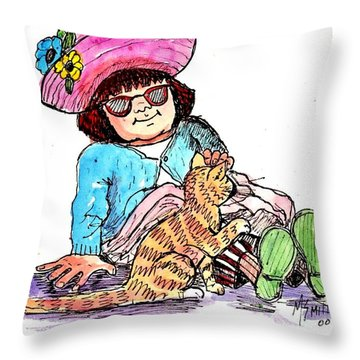 Sofie And Mittens Throw Pillow by Marilyn Smith