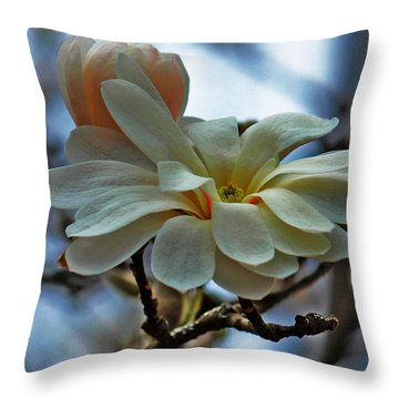 Soft Blooms Throw Pillow