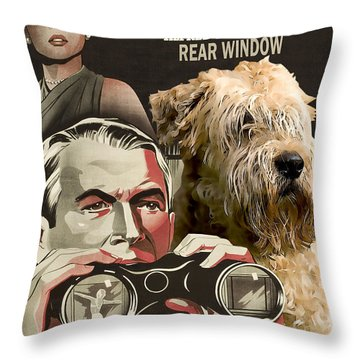 Soft-coated Wheaten Terrier  - Wheaten Terrier Art Canvas Print - Rear Window Movie Poster Throw Pillow