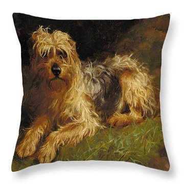 Soft Coated Wheaten Terrier  Throw Pillow by Alfred Duke