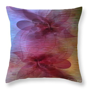 Soft Colored Ripples And Ribbons Abstract Throw Pillow by Judy Palkimas