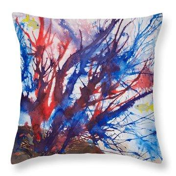 Soft Coral Splatter Throw Pillow